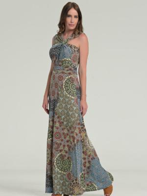 Maxi Sommerkleid mit Knotendetail - Gr. S -