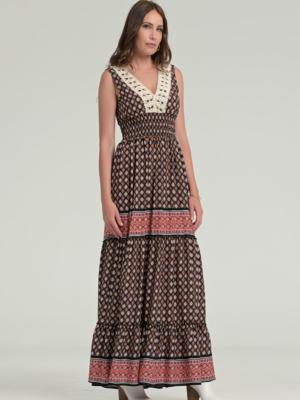 Maxi Sommerkleid mit Spitze -geometrisches Muster -