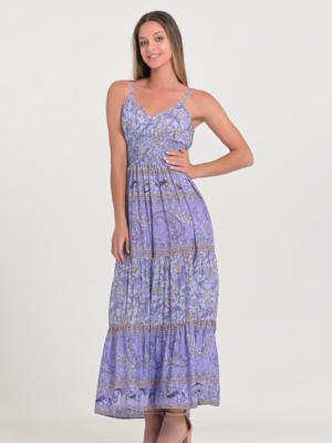 Sommerkleid mit Spaghettiträgern und Ornamente - Lila -