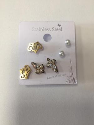 3 Paare trendy Ohrringe Strasssteine Perlen