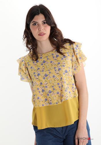 Bluse Blumenmuster - Gelb