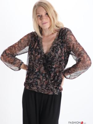 Bluse Mit Pailletten V-Ausschnitt Tüll Jacquard-Muster