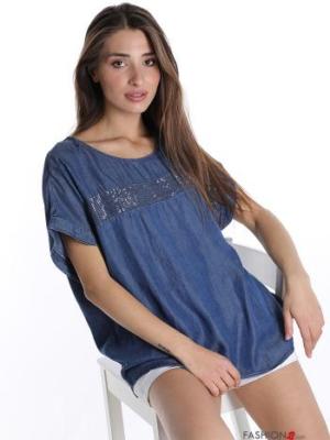 Bluse mit Pailletten - Blau- Gr. L