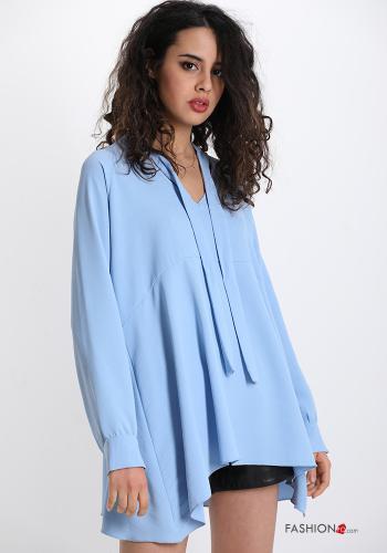 Bluse mit Schleife V-Ausschnitt - Himmelblau