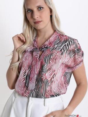 Bluse mit Schleife V-Ausschnitt und Leo- Rot - Italy Style -