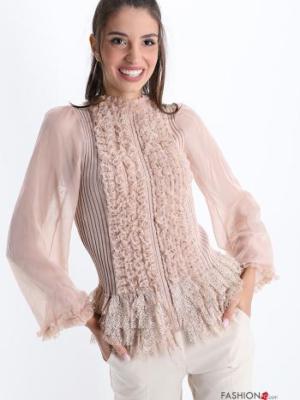 Bluse plissiert mit Volants mit Reißverschluss - Hellrosa