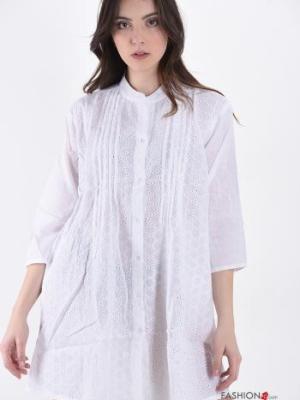 Blusenkleid aus Baumwolle - Weiß - Gr. Onesize