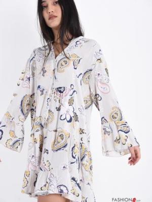 Blusenkleid mit Volants Jacquard-Muster - Kamelhaarfarben