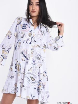 Blusenkleid mit Volants Jacquard-Muster - Weiß