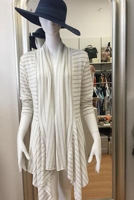 Asymmetrische Stickjacke Cardigan -aufgedruckte Querstreifen-