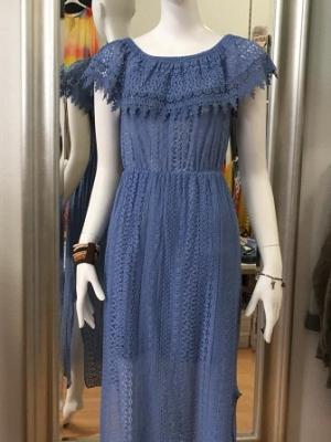 Carmenkleid mit Spitze -Blau-