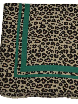 Schal Leo-print grün
