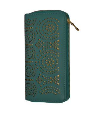 Modernes Portemonnaie mit blumigen Ausstanzungen in Goldfarben