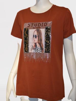 T-Shirt mit Applikation Glamour-Look