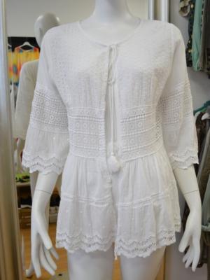 VIA MILANO Tunika -Boho Style -Weiß - Gr. M