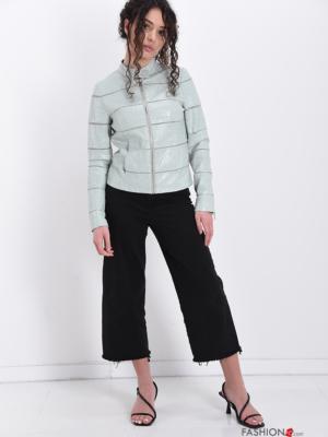 Jacke Kunstleder mit Taschen mit Reißverschluss Gestreiftes Muster - Türkisgrün