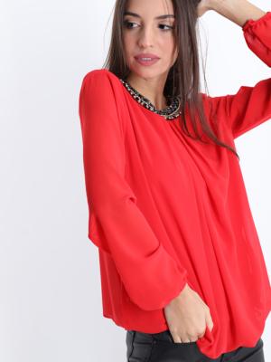 Rote Bluse Mit Strasssteinen