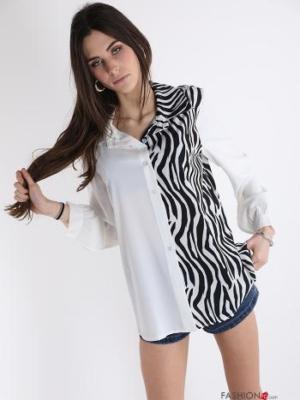 Hemd mit Knöpfen Tiermuster - Weiß