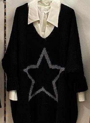 Strickpullover mit Sternenmotiv - Übergröße - Schwarz