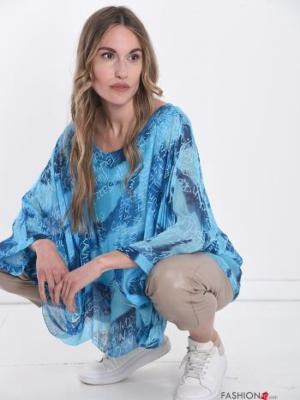 Seidenbluse, Tunika Italy Style - Blau -