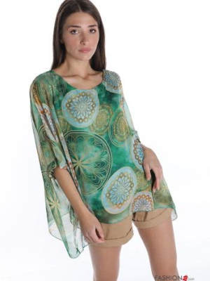 Tunika Bluse mit Jacquard-Muster - Smaragdgrün -
