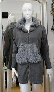 Trendy Jacke mit Kunstpelz- grau - Gr. M/L