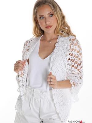 Bolero aus Baumwolle Spitze - Weiß