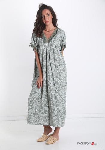 Kleid Spitze V-Ausschnitt Jacquard-Muster - Olivgrün