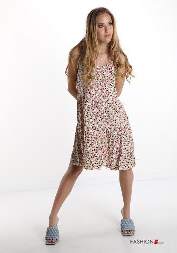 Kleid mit Volants V-Ausschnitt Blumenmuster - Kamelhaarfarben