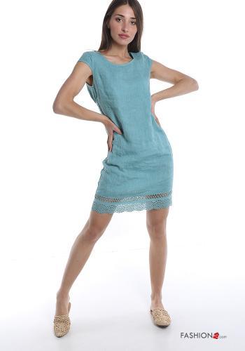 Sommerkleid aus Leinen Spitze - Türkisgrün -