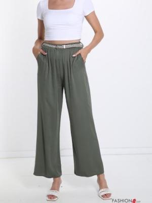 Hose mit Gürtel mit Taschen - Olivgrün -