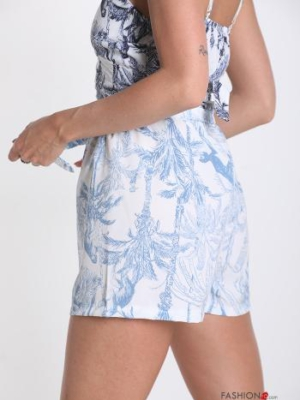 Shorts mit Schleife Natur Muster - Himmelblau