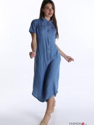 Italienische Mode Blusenkleid mit Knöpfen und Taschen- Hellblau -