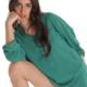 Bluse/Tunika aus Baumwolle mit Knöpfen und Taschen - Flaschengrün