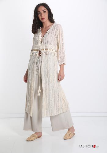 Kimono Kleid aus Baumwolle mit Fransen und Spitze -Beige-