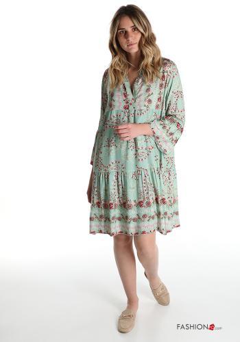 Italy Boho Kleid mit Volants und Blumenmuster - Türkisgrün -