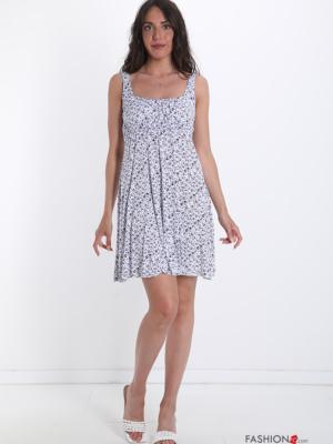 Sommerkleid Kleiderrock mit Blumenmuster - Weiß -