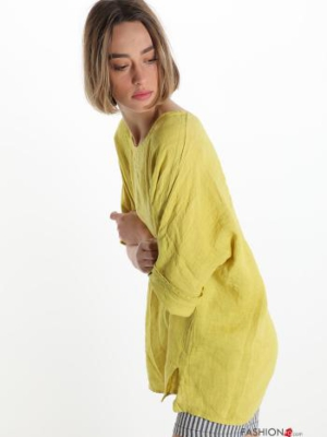 Italy Tunika Bluse aus 100% Leinen mit 3/4-Arm - Gelb -
