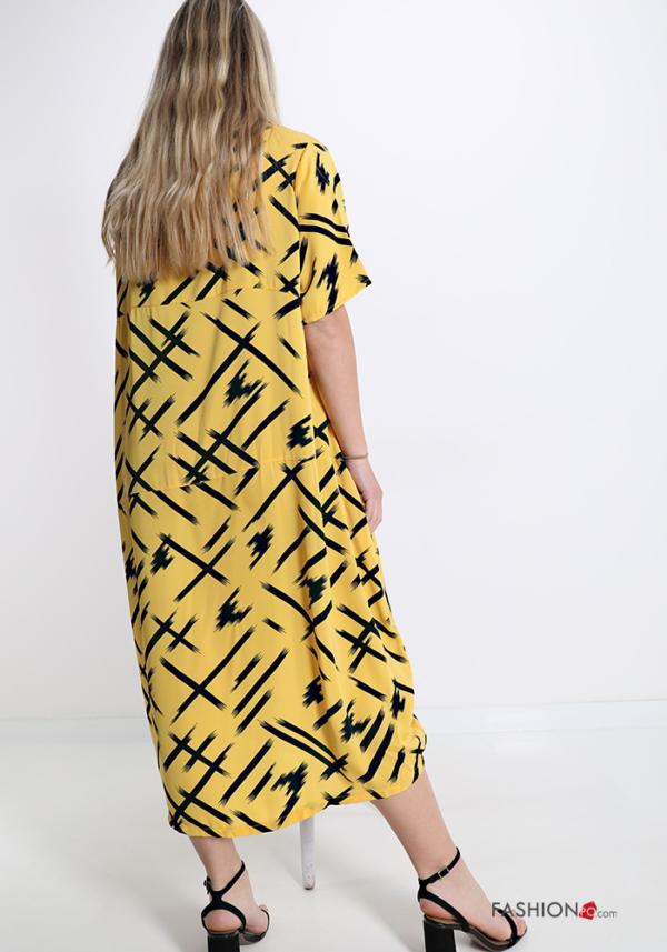 Italy Kleid aus Baumwolle mit Taschen -Abstraktes Muster - Gelb -