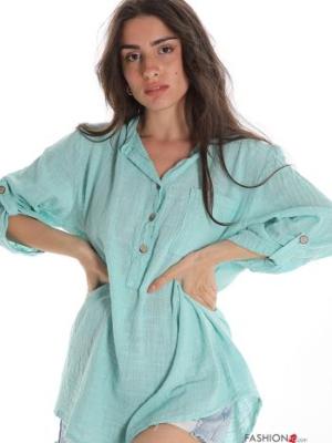 Bluse aus Baumwolle mit Knöpfen V-Ausschnitt mit Taschen - Türkisgrün