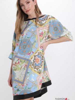 Italy Kleid mit Jacquard-Muster - Himmelblau - Gr. M/L