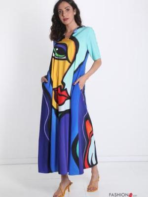 Italy Kleid mit Druck-Print abstraktes Muster -Kunst -Blau -