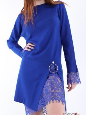 Kleid Spitze - Leuchtend blau Gr.M/L