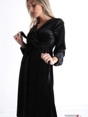 Kleid V-Ausschnitt mit Riemen Samt - Schwarz