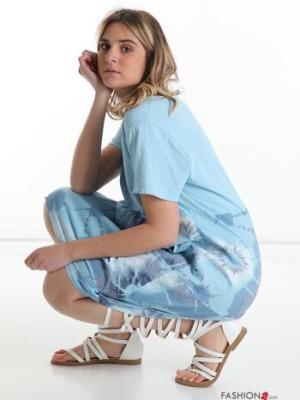 Italy Kleid aus Baumwolle - florales Muster - Himmelblau -
