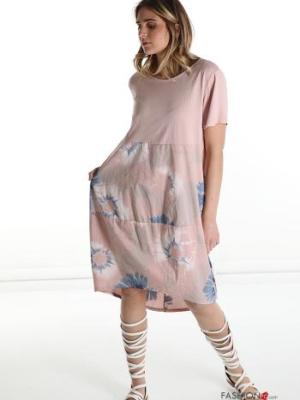 Italy Kleid aus Baumwolle - florales Muster - Rosa -