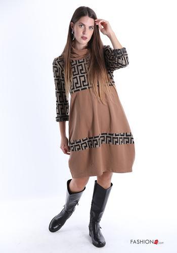 Kleid aus Baumwolle Rollkragen Geometrisches Muster Mäander