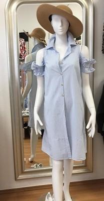 Schulterfreies Kleid mit Volants - Baumwolle - Gr.M/L