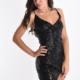 Kleid mit Pailletten mit Riemen regulierbar V-Ausschnitt - Schwarz