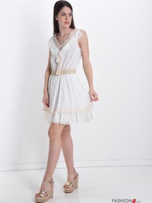 Kleid aus Baumwolle Spitze V-Ausschnitt mit Schleife - Weiß